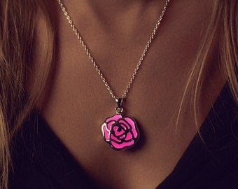 Pink Necklace - Flower Girl Gift - Rose Necklace - Flowers - Unique Gifts for Sisters - Rose Pendant - Anniversary Gift - Pink - Flower