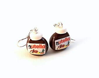 Nutella Earrings, mini food jewelery