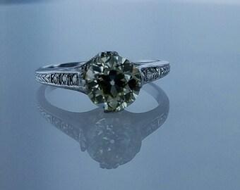 1.81ct Old European Cut Diamond Early century GIA certified diamond solitaire