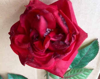 "LOT-6 19"" Red Semi-dried-look Rose Stems 2"" Blooms Authentic Stems with Thorns & 8-Leaves from Classic Silks * Floral Crafts Bouquets"
