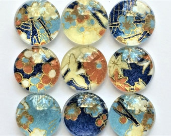 Origami Blossom Glass Magnets in Decorative Tin   Set of 9   Super Strong   Handmade   Fridge Magnets   Teacher Gift   Blue + Brown Magnets