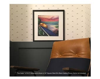 The Cabin - Limited Edition Unframed Giclee Print of Original Oil Painting Watching Sunset from a Cabin by a Lake modern geomtric landscape
