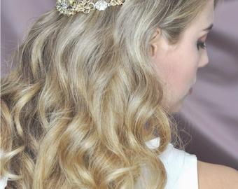 Crystal headpiece / golden headpiece / Crystal headdress / bridal hair jewelry / bridal headpiece / bride jewellery / bridal crown