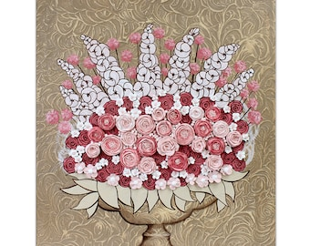 Textured Painting Canvas Art - Sculpted Floral Rose Still Life in Pink and Brown - Wall Art 20x24