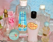 VINTAGE COSMETICS LOT, six pink and blue mid-century make up items in frilly cottage style... perfect for your vanity top!