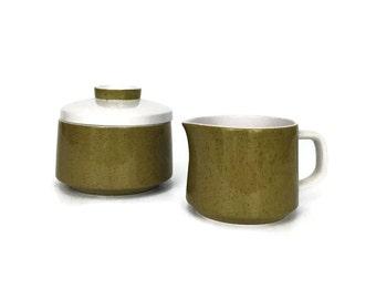 Vintage Avocado Green Mikasa Mediterrania Creamer & Sugar Bowl // 1970s Retro Kitchen Decor