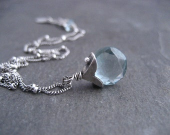 Aquamarine necklace, aqua blue pendant, silver necklace, handmade, gemstone necklace, March birthstone, briolette dangle