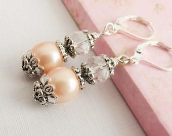 Peach Bridesmaid Earrings, Set Of 8, Dangles, Pearl Earrings, Wedding Jewelry, Bridal Party Gift, Bridesmaid Gift