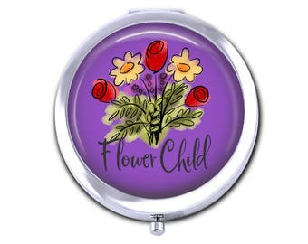 Flower Child pocket mirror hippie floral compact mirror girlfriend gift under 15 daisy tulip purse accessory.