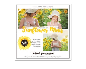 INSTANT DOWNLOAD, Mini Session Photography Template, Marketing, Children, Watercolor, Simple, Elegant, Sunflower, Yellow, Summer, Spring
