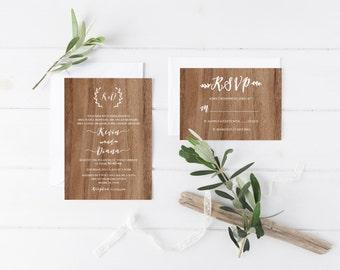 Rustic Wedding Invitation, Wood Wedding Invitation, Boho Laurel Wedding Invite, Printable Wedding Invitation Suite