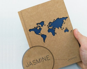 TRAVEL Notebook Map, Custom Name Journal, WORLD Map Journal, Travel Journal, Custom Journal, Custom Notebook, Custom Name Notebook, A5 Size