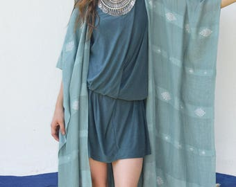 Estrella maxi Kimono ~ aqua & pearl ~ handloomed and embroidered ~ fringed