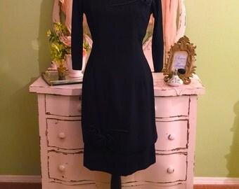 Fabulous! Black Formal Dress, Minimalist Dress, 50s Evening Dress, Hollywood Glam, Black Tie Dress, Dinner Dress, Special Occasion, MS/M