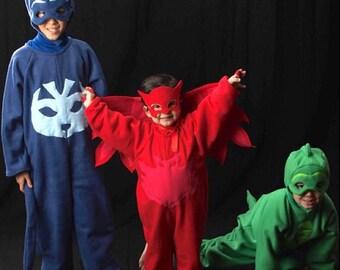 Owl Girls Halloween Costume Dress Up PJ Body Mask Wings Pretend Play Custom Made Owlette