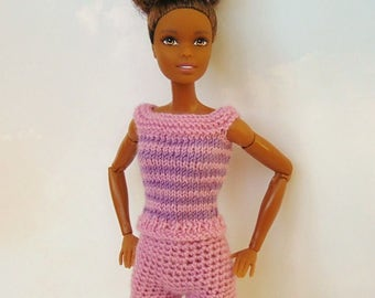 Barbie shorts and top, barbie doll outfit, barbie fashionista, barbie shirt, barbie shorts, barbie pink, barbie knitted, barbie fashion