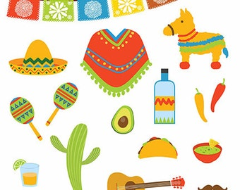 Mexican icons vector- Digital Clipart - Instant Download - EPS,PNG files included