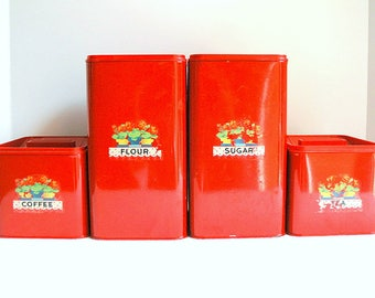 Vintage Red Metal Canister Set KCO Made in Canada--Stacking Flour, Sugar, Coffee, Tea with Lids