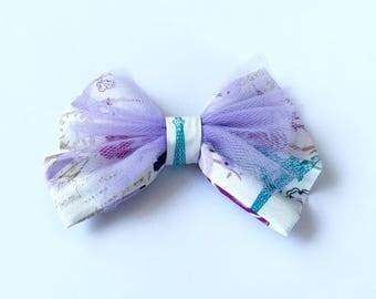 Paris Hair bow, Floral hair bow, Baby Girl hair bow, Girls hair bow, Tulle hair Bow, Purple  floral hair bow
