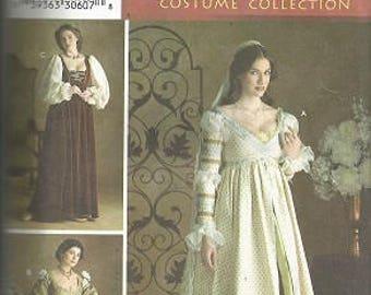 Vintage Simplicity RENAISSANCE COSTUME COLLECTION Pattern - 3812 - Misses - Size D (4,6,8) - Gown & Cap - Uncut