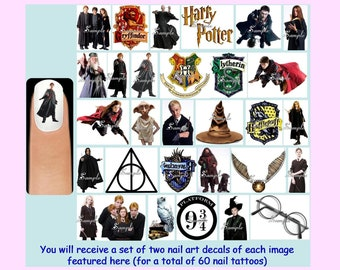 60 x HARRY POTTER Nail Art Decals + Free Rhinestones Crest Hogwarts Gryffindor Slytherin Sorting Hat Dobby Ginny Ron Hermione Dumbledore Owl