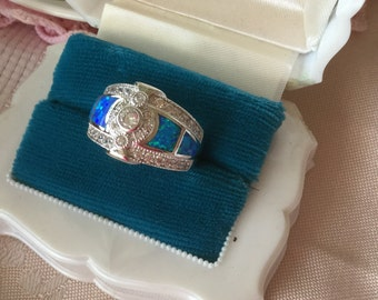 Antique Art Deco vintage Sterling Silver Sapphire and Opal Dress Ring size P