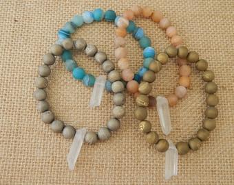 Druzy agate stretch bracelet with crystal spike, beach chic, boho fashion, stacking bracelet, beach fashion, boho jewelry, rustic style