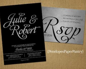 Black and Silver Wedding Invitation,Black,Silver,Shimmery,Elegant,Traditional,Formal,Black Tie Affair,Custom,Printed Invitations,Wedding Set
