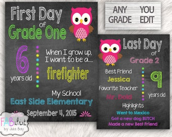 First Day of School editable sign AND Last Day of School reusable Pink Owl PDF School Keepsakes You Edit You Print FabUPrint