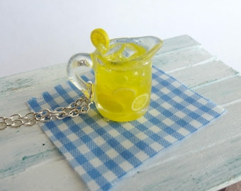 Lemonade Charm Necklace Miniature Food Jewelry Lemon Charm Polymer Clay Resin