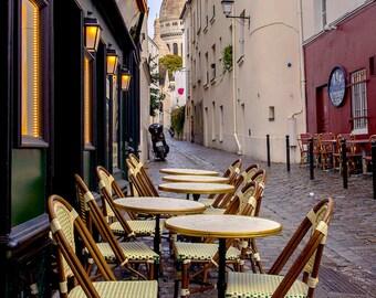 Romantic Cafe, Sacre Coeur Basilica, Paris Photography