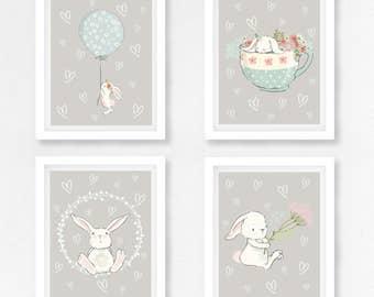 Grey Nursery Wall Art, Bunny Nursery Decor, Bunny Wall Art, Neutral Baby Gift, Gender Neutral Baby Shower, Grey Nursery Print, Bunny Prints