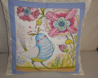 Hand Quilted Cushion Cover and pad. Blue bird Motif Nursery Cushion Cover. Hand Quilted Patchwork Cushion. Nursery. Baby Shower.