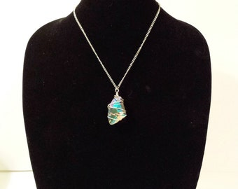 Silver wire-wrapped large crystal on silver chain