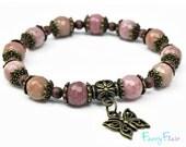 Rhodochrosite Bracelet with Butterfly Charm for Self-Love & Feminine Energy - Real Faceted Gemstone, Yoga Jewellery, Boho, Girlfriend Gift.