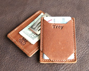 The Trey Personalized Money Clip Front Pocket Fine Leather Wallet - Moneyclip Wallets Clips - Card Wallet
