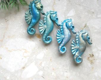 Seahorse brooch, hippocampus brooch, polymer clay seaanimals brooch