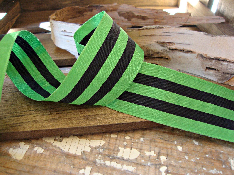 Kelly Green and Black Stripe Grosgrain Ribbon
