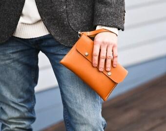 Men's Wrist Clutch Handbag,For Him, Organizer Handbag, Passport Wallet, Leather Clutch, Wrist Bag, Gift for him