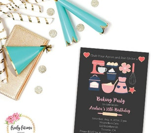 Baking Party Invitation - Cooking Party - Birthday Party - Printable Invitation - Digital Invitation