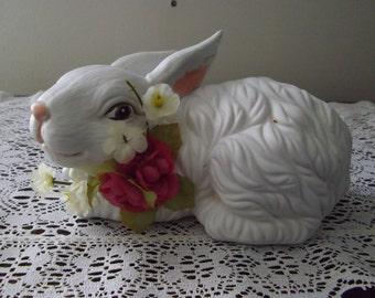 White Reclining Bunny Rabbit Pottery Figurine, Vintage 1990's