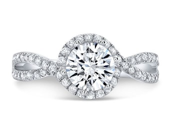1.50 Ct. Forever One Moissanite & Diamond Halo Engagement Ring on 14K White Gold with Twisted Shank