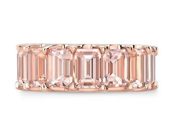 5.40 Ct. Emerald Cut Morganite Wedding Band or Anniversary Ring on 14K Rose & White Gold Half Eternity Style
