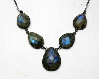 925 Sterling Silver Labradorite Statement Necklace Labradorite Flashy Necklace Labradorite FINE Silver Necklace Blue Labradorite