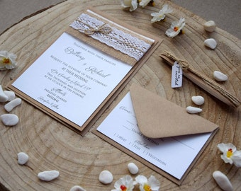 Burlap Wedding Invites, Lace Wedding Invitation, Rustic Lace Wedding Invitation, Lace Invitation, Rustic Wedding Invites - SAMPLE