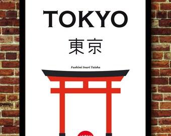 Tokyo Japan travel art print poster decoration