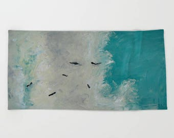 Blue Birds Flying Beach Towel