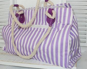 Beach bag, Stripy Bag, Lavender, striped bag, summer bag
