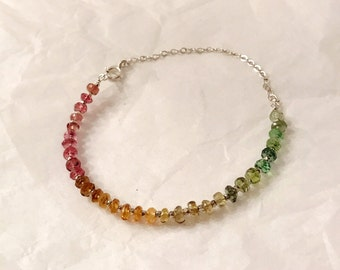 Handmade watermelon tourmaline gemstone Bracelet with sterling silver beads and sterling silver chain
