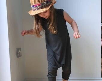 charcoal grey harem shorts romper jumpsuit / overalls / sleeveless toddler harem romper / baby jersey harem jumpsuit- skinny leg fit